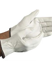 White Leather Driver Gloves