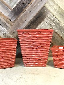 Glazed Ripple Pot Red