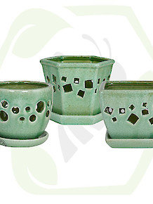 Orchid Pot Crackle Celadon