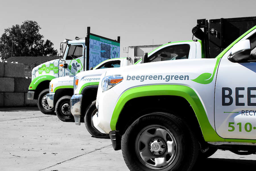 Bee Green Trucks in Black & White With Greens Colors showing