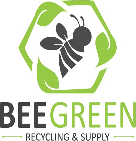 Bee Green Recycling & Supply Logo, recycling leaves around bee